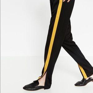 ZARA Track Pants Navy/White Side stripes Size S